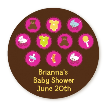 Baby Icons Pink - Round Personalized Baby Shower Sticker Labels
