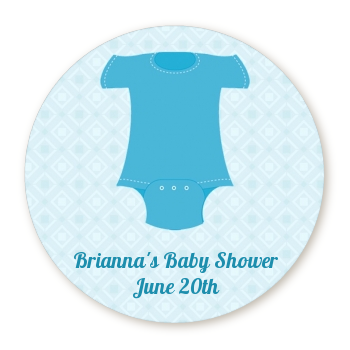 Baby Outfit Blue - Round Personalized Baby Shower Sticker Labels