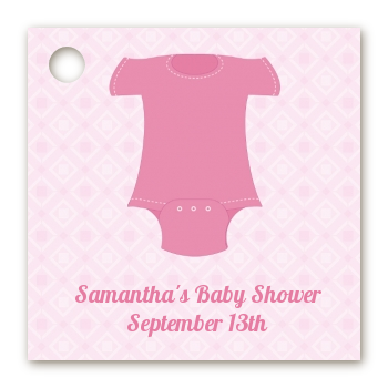 Baby Outfit Pink - Personalized Baby Shower Card Stock Favor Tags