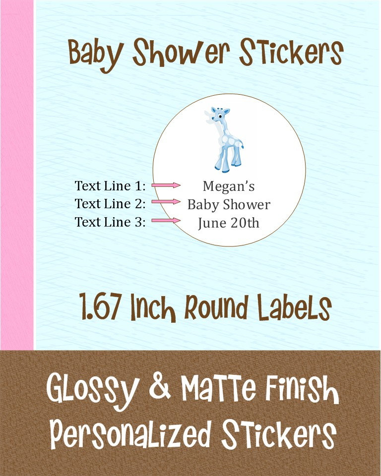 24 round personalized baby shower sticker labels