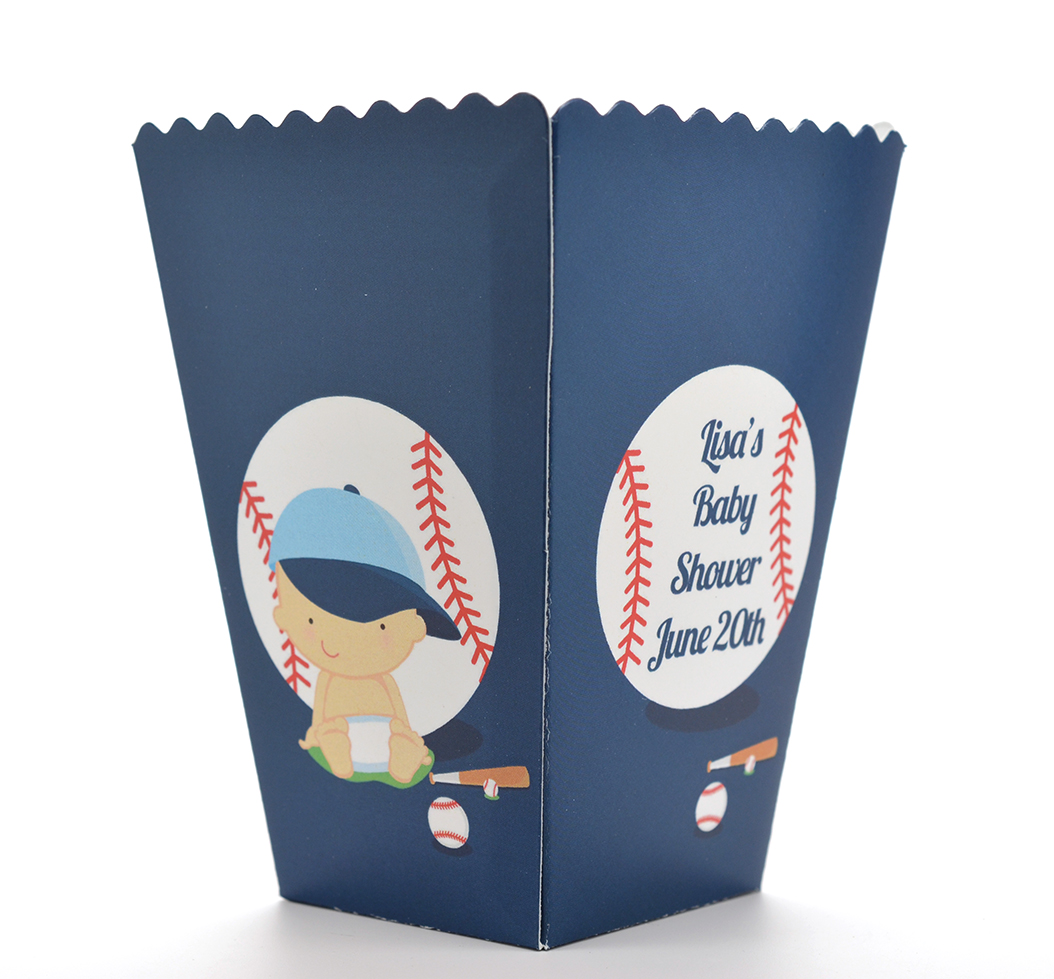 Future Baseball Player - Personalized Baby Shower Popcorn Boxes
