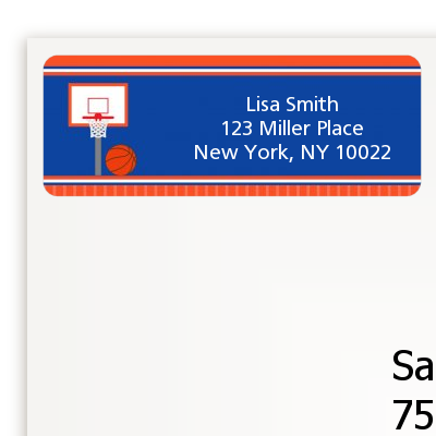 Basketball Jersey Blue and Orange - Birthday Party Return Address Labels
