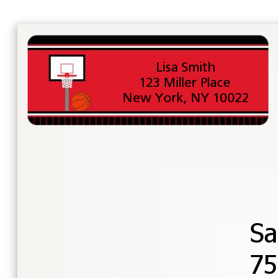Basketball Jersey Red and Black - Birthday Party Return Address Labels