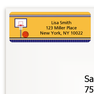 Basketball Purple and Yellow - Birthday Party Return Address Labels