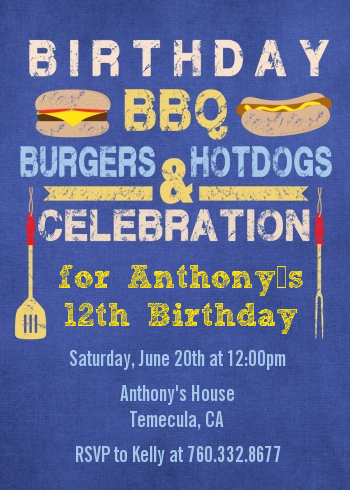 bbq hotdogs and hamburgers birthday party invitations candles and