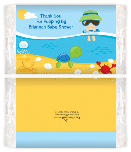 Beach Baby Asian Boy Baby Shower Popcorn Wrappers Baby Shower