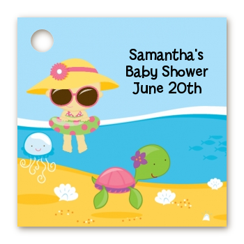 Beach Baby Girl - Personalized Baby Shower Card Stock Favor Tags