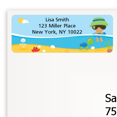 Beach Baby Hispanic Boy - Baby Shower Return Address Labels