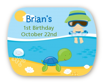Beach Boy - Personalized Birthday Party Rounded Corner Stickers