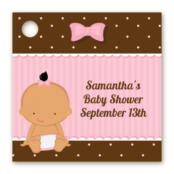 Baby Girl Hispanic - Personalized Baby Shower Card Stock Favor Tags