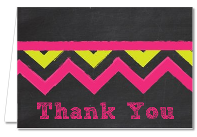 Birthday Girl Chalk Inspired - Birthday Party Thank You Cards