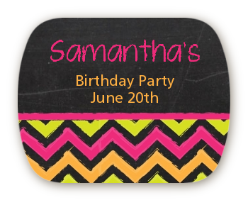 Birthday Girl Chalk Inspired - Personalized Birthday Party Rounded Corner Stickers