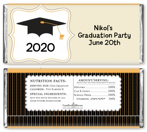 Black & Gold Graduation Party Candy Bar Wrappers | Candles ...