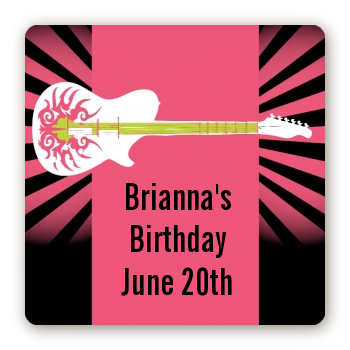 Rock Star Guitar Pink - Square Personalized Birthday Party Sticker Labels