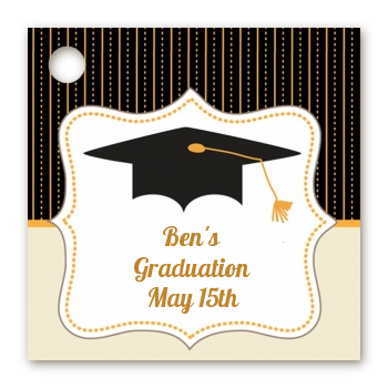 Black & Gold - Personalized Graduation Party Card Stock Favor Tags
