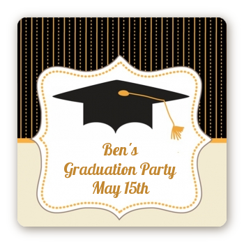 Black & Gold - Square Personalized Graduation Party Sticker Labels