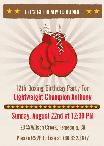 Boxing Gloves Birthday Party Invitations Candles And Favors Awesome Boxing Party Theme Decorations