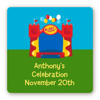 Bounce House - Square Personalized Birthday Party Sticker Labels