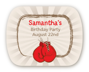 Boxing Gloves - Personalized Birthday Party Rounded Corner Stickers