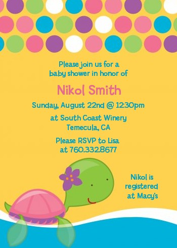 Sea Turtle Girl - Baby Shower Invitations