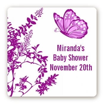 Butterfly - Square Personalized Baby Shower Sticker Labels