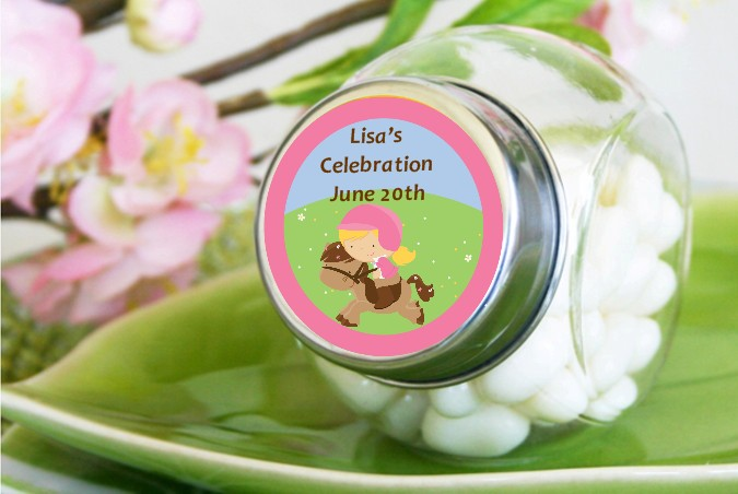 horseback riding birthday party candy jars candles favors