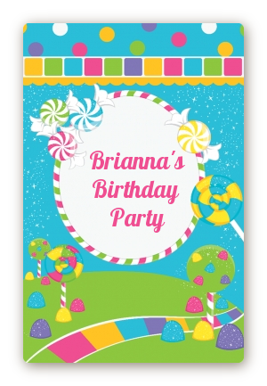 Candy Land Custom Large Rectangle Birthday Party Sticker