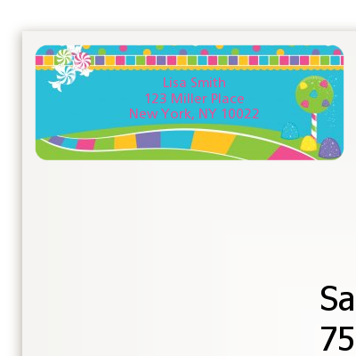 Candy Land - Birthday Party Return Address Labels