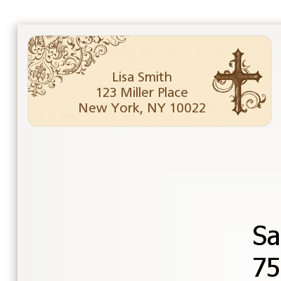 Cross Brown & Beige - Baptism / Christening Return Address Labels