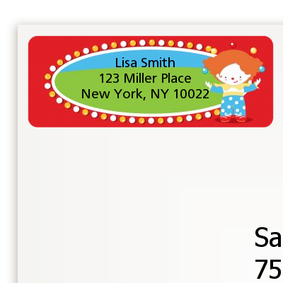 Circus Clown - Birthday Party Return Address Labels