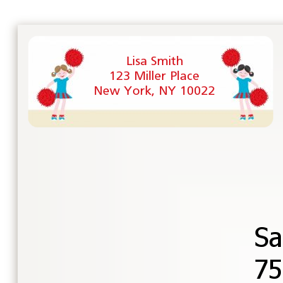 Cheerleader - Birthday Party Return Address Labels