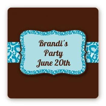 Cheetah Print Blue - Square Personalized Birthday Party Sticker Labels