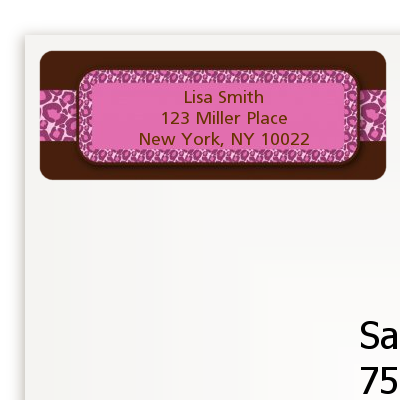 Cheetah Print Pink - Birthday Party Return Address Labels