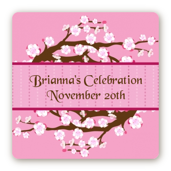 Cherry Blossom - Square Personalized Baby Shower Sticker Labels