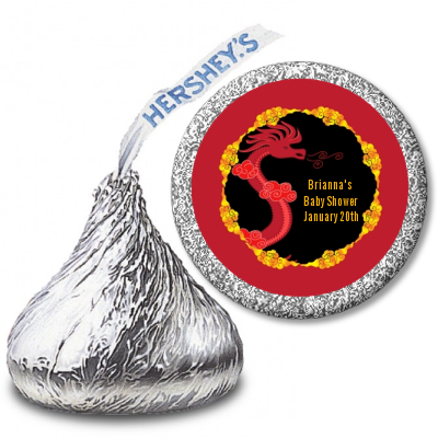 Chinese New Year Dragon - Hershey Kiss Baby Shower Sticker Labels
