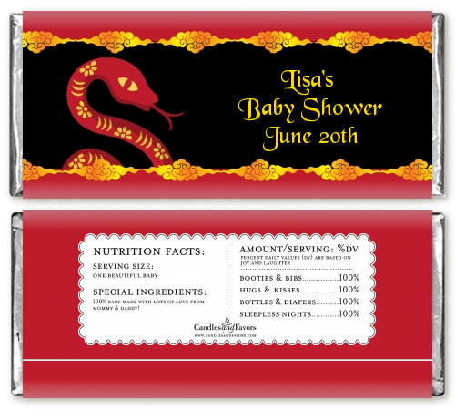 chinese new year snake baby shower candy bar wrappers
