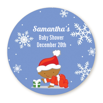 Christmas baby snowflakes african american round personalized baby