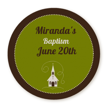 Church - Round Personalized Baptism / Christening Sticker Labels