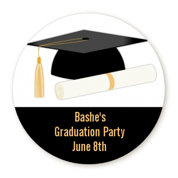 Graduation Cap - Round Personalized Graduation Party Sticker Labels