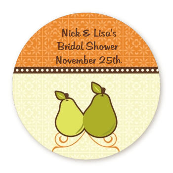 The Perfect Pair - Round Personalized Bridal Shower Sticker Labels
