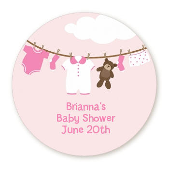 Clothesline its a girl round personalized baby shower sticker labels