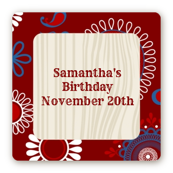 Cowgirl Rider - Square Personalized Birthday Party Sticker Labels