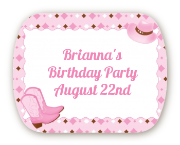 Cowgirl Western - Personalized Birthday Party Rounded Corner Stickers
