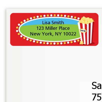 Circus Popcorn - Birthday Party Return Address Labels
