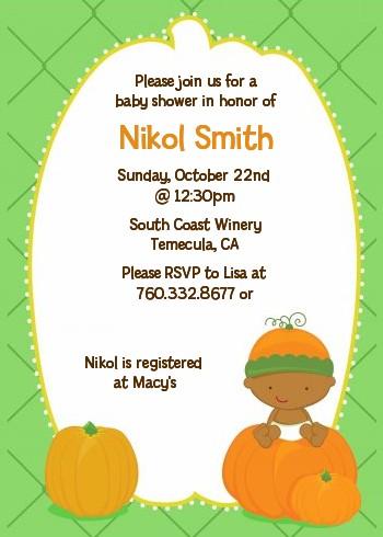 Little Pumpkin African American Halloween Baby Shower