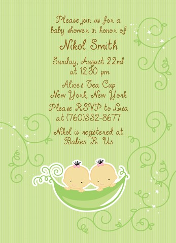 Twins Two Peas In A Pod Asian Baby Shower Invitations 1 Boy