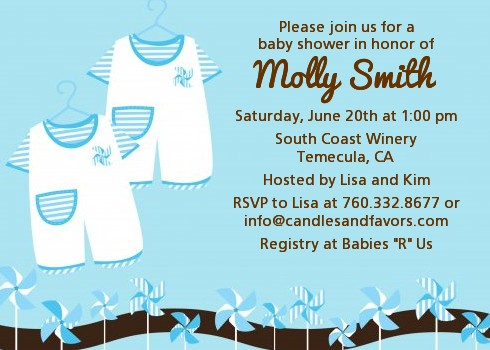 Twin Little Boy Outfits Baby Shower Invitations Candles and Favors
