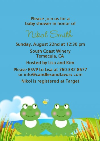 Twin Frogs Baby Shower Invitations Candles and Favors