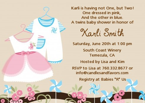 Twin Little Outfits 1 Boy And 1 Girl   Baby Shower Invitations