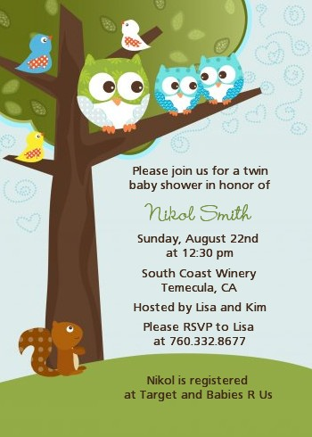 Owl Look Whooo S Having Twin Boys Baby Shower Invitations